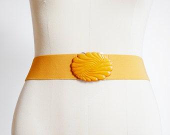1980s Golden Yellow Elastic Belt - 30 -36
