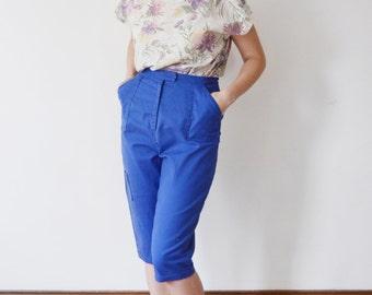 1960s Blue Cotton Capri Pants - M/L