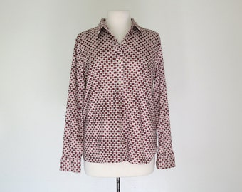 AUTUMN // rust colored 70s stretch poly button down blouse