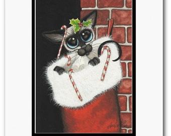 Siamese Cat - Christmas Stocking Stuffer - Art Prints & ACEOs by Bihrle ck327