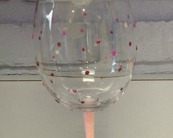 Pretty Petite Polka Dots Wine Glass