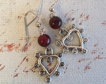 Unusual Heart Earrings, Red, Whimsical, Valentines Day