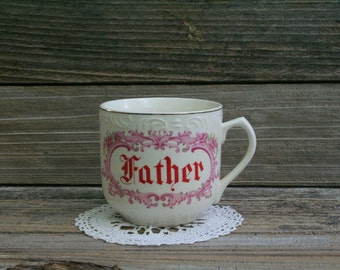 Beautiful Vintage Shabby Chic Father Mugs / Cup