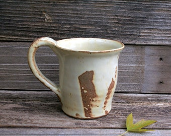 Beautiful Large Rustic Handmade Pottery Mug in Cream and Brown