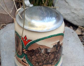 Villeroy and Boch Mettlach German / Heidelberg Lidded Beer Stein / Collectible