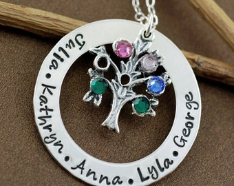 Personalized Family Tree Necklace, Hand Stamped Jewelry, Family Tree Grandma Jewelry, Sterling Silver Necklace, Birthstone Mommy Necklace