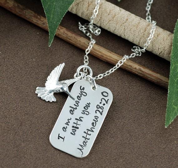 Inspirational Necklace  | Hummingbird Necklace | Motivational Necklace | Hand Stamped Necklace | Bible Verse Necklace, Matt 28:20