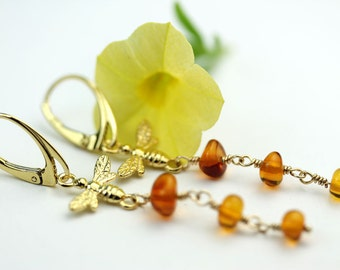 Bee with Honey Amber long dangle lever back earrings in gold vermeil by art4ear gift under 50 dollars free shipping in Canada, amber jewelry