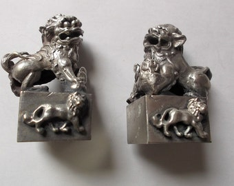 Miniature PAIR Chinese FOO DOGS Tibetan Miao Silver Stamps Seal Fengshui Lions Handmade