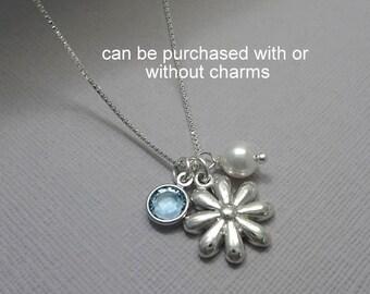 Sterling Silver Flower Necklace, Flower Girl Necklace, Personalized Flower Girl Necklace, Flower Girl Gift, Birthstone Necklace