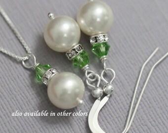 Light Green Bridesmaid Jewelry Set, Swarovski Ivory Pearl and  Light Green Crystal Bridesmaid Jewelry Set, Peridot Bridesmaid Gift