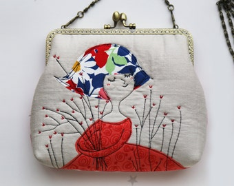 Girl with hearty tree Clutch Bag Free Motion Embroidery(Cosmetic Case, Makeup Pouch, Travel Bag, Bag Belt)