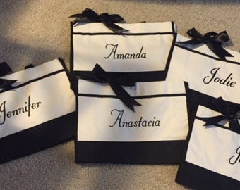 Personalized Bridesmaid Gift,  Monogrammed Totes Set of 4