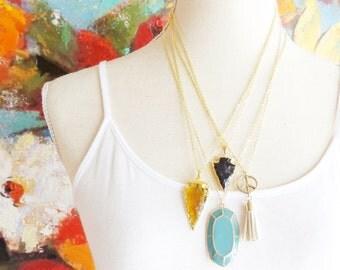Arrowhead Necklace - Smokey Amber Arrowhead Pendant - Long Arrowhead Necklace - Indian Arrowhead - Arrowhead Charm - Boho Bohemian Style