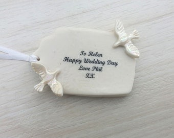 Personalised Wedding Gift Tag - Unique Wedding Gift Tag - Ceramic Gift Tag - Pottery Wedding Anniversary Gift - 30th Pearl Wedding Gift Tag