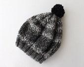 Womens Pom Pom Hat, Slouchy Beanie- Pom Pom Beanie- Knitted Hat- Womens Beanie- Grey Baggy Beanie Slouchy Hat