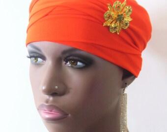Women Orange EZ PZ  Turban Wrap For Short Hair Or Bald Head-  One Size-Ready Wraps- Stretch Turban- Stretch Wraps