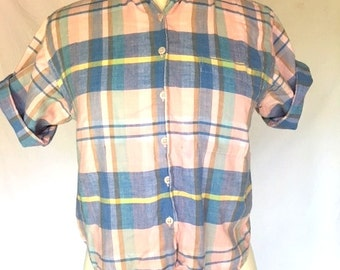 Vintage 80s Pale Pink and Blue Checkered Button Up Shirt -