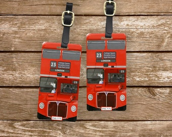 Luggage Tags British Red London Bus Set,  Personalized Metal Tags, 2 Tags Custom information on Backs Choice of Straps