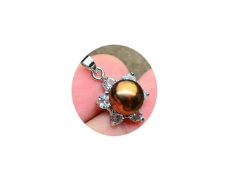 Natural Pearl Pendant , Large Pearl Pendant  ,  Bronze  Pearl Pendant  , Cubic Zirconia Crystals