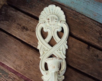 Vintage Shabby Chic Candelabra Wall Sconce Candle Holder Repurposed Distressed Chippy Baroque Rococo Shell Display Homco