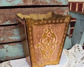 Vintage Italian Florentine Wood Waste basket or Trash can Gold Gilt Made in Italy Shabby Chic Pale Pink Mid Century Hollywood regency