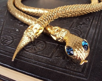 Vintage Mesh Snake Belt Necklace Serpent Adjustable Length Versatile Layered Cobalt Blue Glass Rhinestones Gold Costume Jewelry Cleopatra