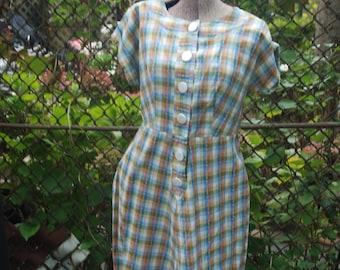 CLEARANCE Vintage 1970s Plaid Prairie Chic Day Dress S/M
