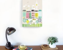 London Canvas Art Print, Skyline Wall Canvas, Cityscape Illustration Picture, Home decor, for kids room, nursery, bedroom, kitchen, MCLBB1