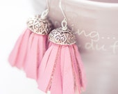 Tassel Leather Earrings Boho Chic Baby Pink Fringe Silver boho bohemian long sexy dangly glam rose