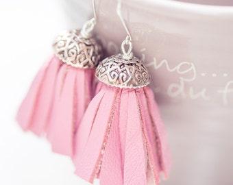 Tassel Leather Earrings Boho Chic Baby Pink Fringe Silver boho bohemian long sexy dangly glam rose