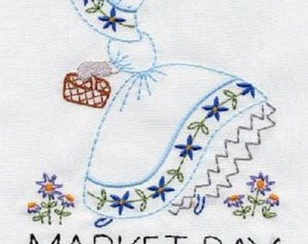 Beautiful Sunbonnet Sue embroidered dish towel