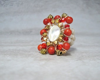 Statement Ring with Red Coral-Large Majestic Cocktail Ring Wire Wrapped by Sharona Nissan 4177R