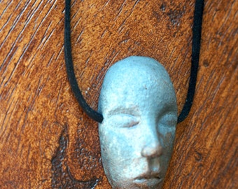 OOAK oxidized clay face mask handmade art necklace pendant on black leather cord