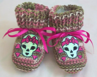 Punk Skull  baby booties Pink Camo Camouflage Baby booties boots crib shoes 0-12M Skull Glows in the light.  READY TO SHIP