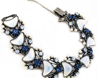 Florenza Blue Rhinestone and Glass Opalescent Link Bracelet