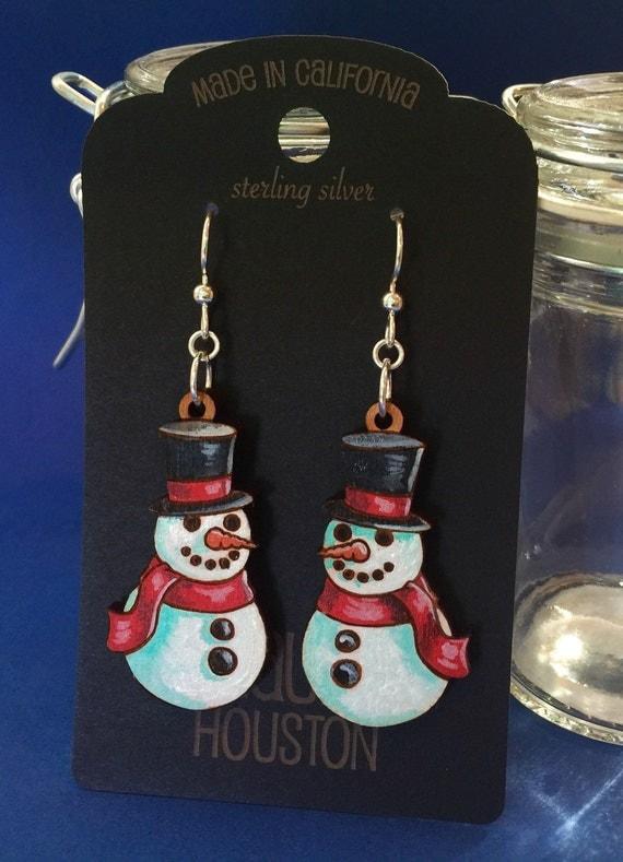 Hand Painted Snowman Earrings