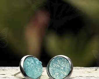 Aqua Faux Druzy Studs with Stainless Steel Posts, Chunky Sea Blue Ice Earrings, Minimalist