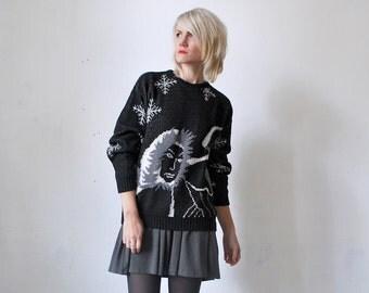 SALE...80s novelty sweater. Eskimo people sweater. 80s black sweater. kitsch knit sweater - medium