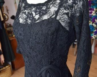 Black Lace Illusion Dress, M/ L