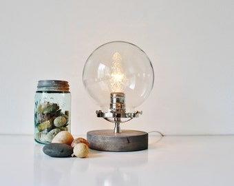Globe Table Lamp, Industrial Chrome, Steel and Wood Desk Lamp, Round Clear Glass Orb Shade, Modern Minimalist BootsNGus Lighting & Decor