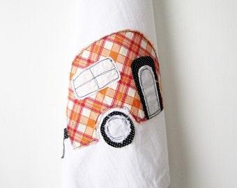 Tea Towel // 100% Cotton // Flour Sack Towel // Camper Applique // Retro Plaid // Kitchen Decor // Dish Towel // Camping Style // Orange