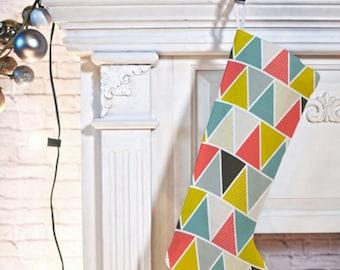Geometric Christmas Stocking // Holiday Decorating // Modern Christmas // Triangulum Design // Christmas Decor // Home Decor
