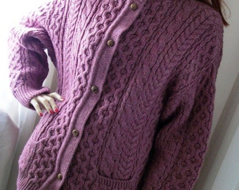 Vintage 1970s Plum Ireland Cable Wool Cardigan Fishermans Sweater Size M