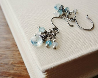 Swiss Blue Topaz and Moonstone Gemstone Cluster Silver Earrings . Oxidized Sterling Silver Blue Topaz Gemstone Dangle Cluster Earrings