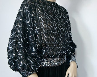 Sequin Blouse 1980's Vintage Party Disco Black and Silver New Years Eve Holiday Slouchy Top Size Small - Size Medium