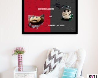 Our House Is Divided But Our Hearts Are United Sports Themed Wedding Guestbook Poster, Sports Theme Wedding, Wedding Guest book Poster,