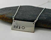 """adk love necklace. sterling silver, rectangle stamped tag. adirondack jewelry. sterling silver chain. 18"""". rustic, metal handstamped. heart"""