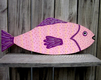 Painted Fish, Colorful Fish, Wood Fish, Pink, Purple, Lavender, Yellow, Beach Wall Decor, Hand Painted Fish, Tropical Fish, Nautical Decor