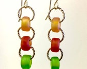 Fall seaglass earrings autumn colors  gold braided wire, foliage color earrings of amber, burnt orange and apple green back to school gifts